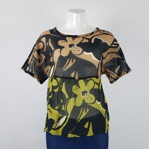 Marc Cain Brown Flower Top Size S
